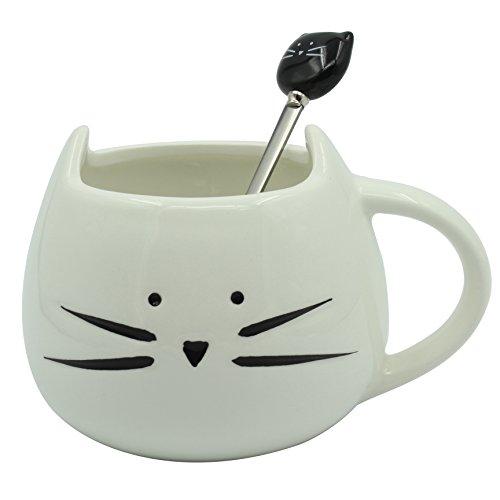Moonpop, set di tazza da caffè in ceramica con cucchiaino, motivo con gatto, tazza in ceramica per tè, latte e acqua, capienza 300 ml