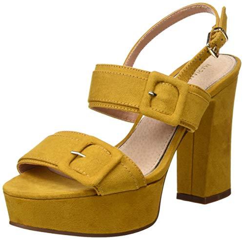 Zapato de tacón alto amarillo mostaza de verano para mujer