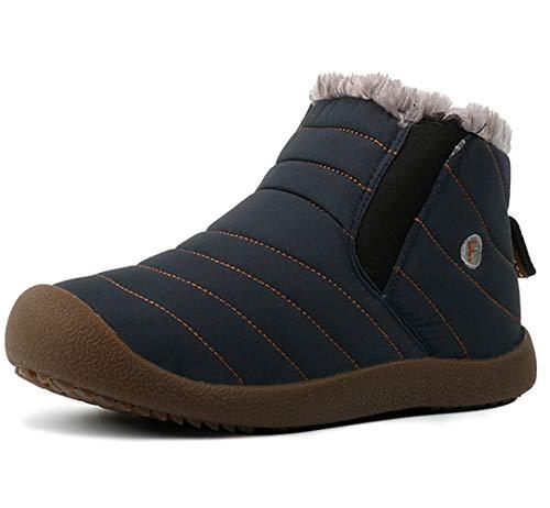 DADAWEN Men Women Slip On Waterproof Outdoor Anti-Slip Fur Lined Ankle Snow Boots Blue Women US Size 12/Men US Size 10.5