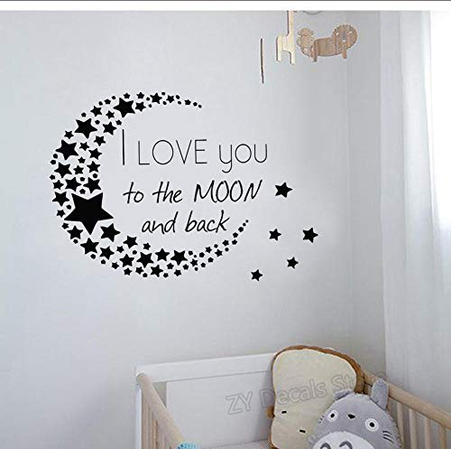 Adesivo da parete con scritta 'I Love You to The Moon and Back', motivo: stelle e luna, in vinile, decorazione per la casa, 59 x 42 cm