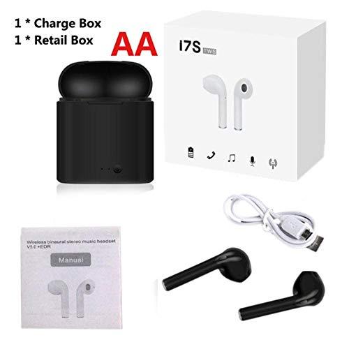 TWS auricular inalámbrico en la oreja Bluetooth V5.0 auriculares in-ear música auriculares con carga para iPhone xiaomi todos los teléfonos inteligentes, una caja de 2 negro al por menor