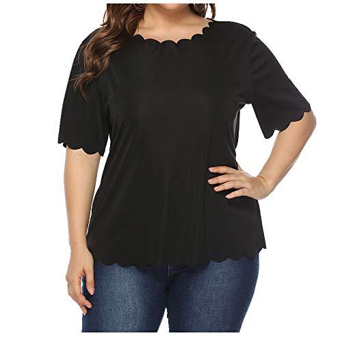 NOBRAND - Camiseta de manga corta para mujer, diseño de borde ondulado, color sólido, simple y versátil Negro Negro ( XXXXL