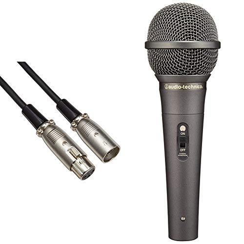audio-technica ATL458A/5.0 Canon Cable for Mic, 16.4 ft (5.0 m), XLR Connector Male to Female & Audio-Technica Dynamic Vocal Microphone with Protective Ring, AT-X11 Black