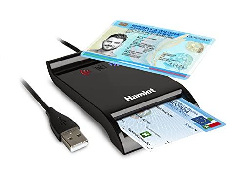 Hamlet HUSCR-NFC - Lettore di Smart Card USB e Contactless NFC per Carta Identità Elettronica CIE 3.0