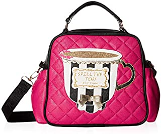 Betsey Johnson Women's Spill The Tea! Lunch Tote Fuchsia/Black One Size