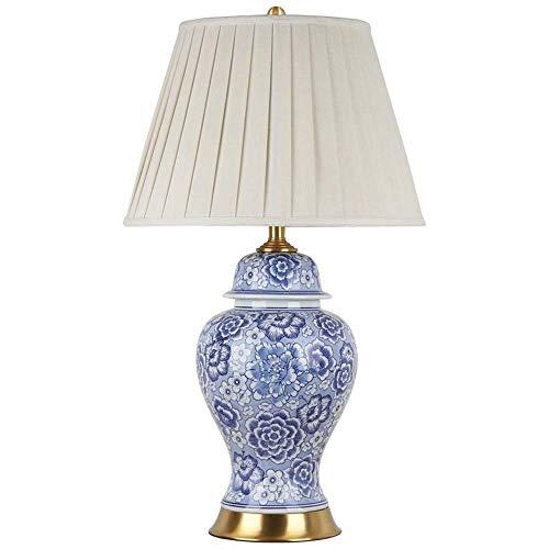 L.W.S Lámpara de Escritorio Lámpara de Mesa de cerámica Azul y Blanca, lámpara de Noche para Sala de Estar, decoración de Cobre Retro, Dormitorio 40x70cm