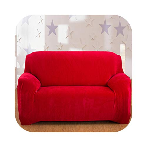 xiao S 2021 Solid Color Plush Thicken Elastic Sofa Cover Universal Sectional Slipcover 1/2/3/4 Seater Stretch Couch Cover for Living Room-Red-1seater 90-140cm