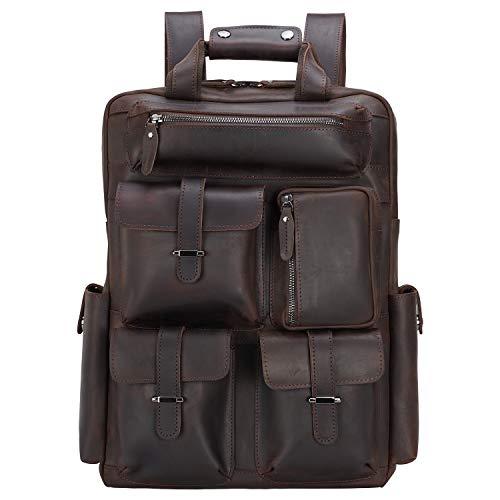 TIDING, zaino da uomo in pelle da 15,6 pollici, borsa per laptop con bretelle Trolly, grande capacità, da uomo, borsa a tracolla, marrone Retro in pelle. L