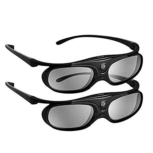 DLP 3D Glasses 144Hz Rechargeable 3D Active Shutter Glasses for All DLP-Link 3D Projectors, Can't Used for TVs, Compatible with BenQ, Optoma, Dell, Acer, Viewsonic DLP Projector (Black- 2 Pack)