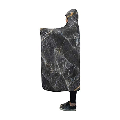 Rtosd Hooded Blanket Gold White ed Natürliche Dunkelgraue Decke 60x50 Zoll Comfotable Hooded Throw Wrap