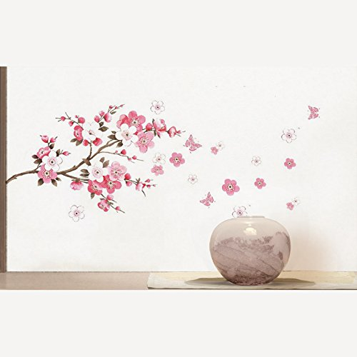 Qianxing removable cycle-usable flower and tree theme wallpaper wall sticker leisure style beautiful scenery Wall Decal for house home living room mural Decoration(peach blossom and butterfly)(100*45) by Qianxing