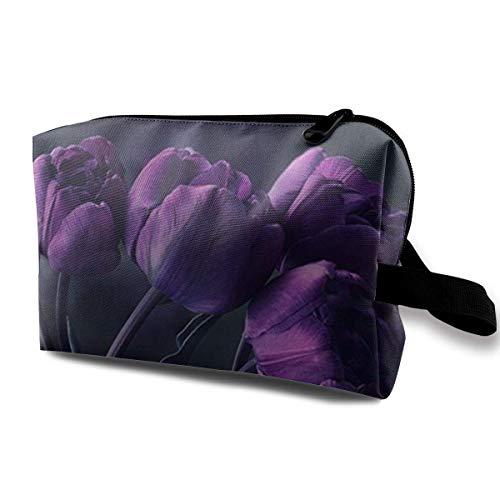 TRFashion Sac à cosmétiques de Voyage Dark Purple Tulip Flower Art Print Toiletry Travel Bags Portable Cosmetic Bags Women's Waterproof Storage Bags
