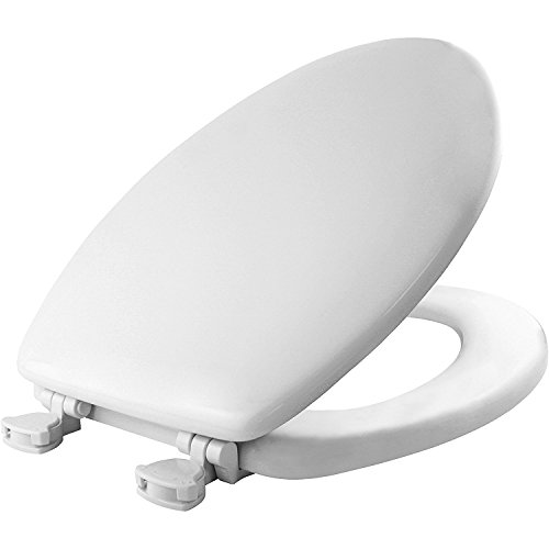 MAYFAIR 1844EC 000 Toilet Seat Easily Remove, ELONGATED, Durable Enameled Wood, White
