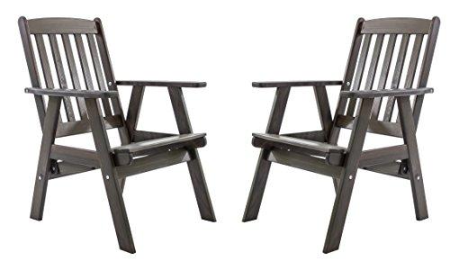 Ambientehome, tuinstoel, verstelbare stoel, stoel, tuinstoel, massief hout, hoge rugleuning, VARBERG, 2-delige set grijs