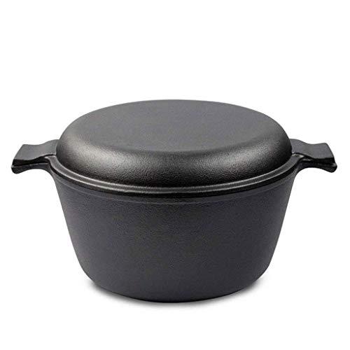 YWSZJ Cacerola, cazuela de Hierro Fundido, Pan Revestimiento Antiadherente Estilo Guiso Sopa de Olla Cocina de inducción Universal Negro