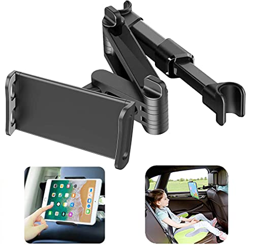 Soporte de tablet para coche, ajustable, reposacabezas extensible, para iPad, iPhone, Samsung Galaxy Tabs, Kindle Fire HD, etc. de 4,4 a 11 pulgadas