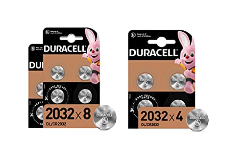 Duracell - Pilas de botón de litio 2032 de 3 V, paquete de 12, con Tecnología Baby Secure, para uso en llaves con sensor magnético, básculas, elementos vestibles,...