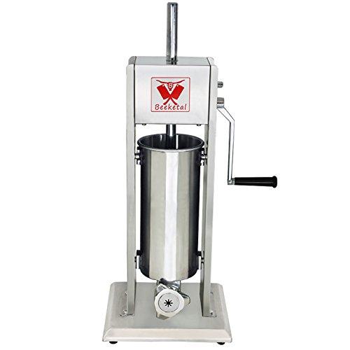 Beeketal 'BT05C' Edelstahl Industrie Wurstfüllmaschine Set mit Churros Maker Aufsatz (5 L Volumen), Profi Wurstfüller mit 2 Gang Metall-Getriebe und Handkurbel, inkl. 5 Tüllen und Churros Vorsatz