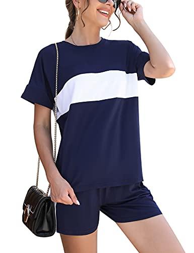 Doaraha Traje Corto Casual para Mujer, Conjunto de Camisaeta con Cuello Redondo y Pantalón Corto, Conjunto de Chándal Deportivo Corto con Rayas de Costuras para Verano, Armada, XL