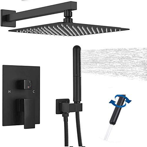 GGStudy - Juego de ducha con válvula de ducha para baño, sistema de grifo de ducha de lluvia de 10 pulgadas, cuadrados, acero inoxidable, con rociadores de mano, color negro