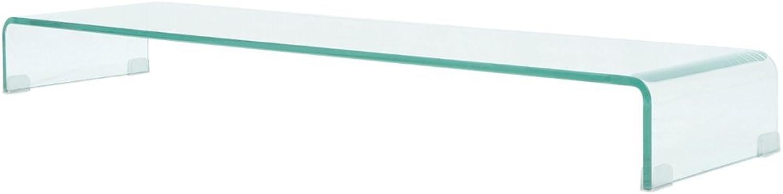 VidaXL TV-Tisch Aufsatz Monitor Erhhung Glasbühne Podest Transparent 120x30x13