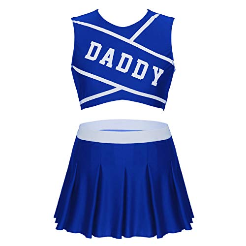 dPois Disfraz Ertico de Animadora para Mujer Adulto Top y Mini Falda Plisada Sexy Traje de Animadora Ropa de Noche Club Conjunto de Lenceria High School Costume Azul Medium