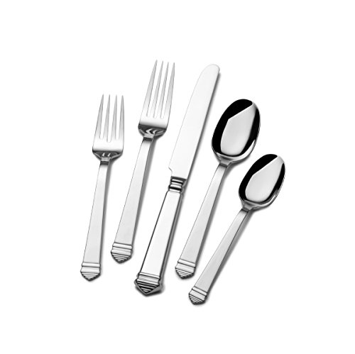 Towle Colonnade 45-Piece Stainless Steel Flatware Set with Hostess Serveware, Service for 8, Silver