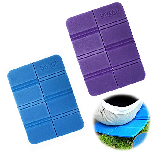 2Pcs Insulated Moisture-Proof Folding Seat Mat XPE Portable Waterproof Outdoor Cushion Foldable Sit Mat for Hiking Tourism Camping Park Picnic (Purple+Blue)
