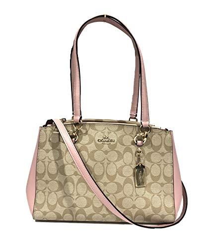 Coach Etta Signature and Leather Carryall Shoulder Crossbody Handbag (IM/Light Khaki Blossom)