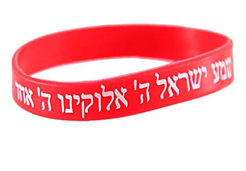 1 Bracelets ROUGE CHEMA ISRAËL – Kabbale juive hébraïque bandes caoutchouc