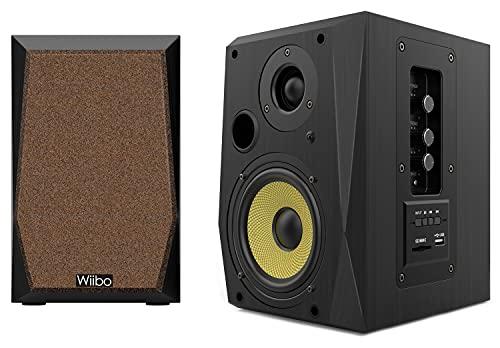 WIIBO- Neo 50 V2 - Altavoces Bluetooth Portátiles - Altavoces Inteligentes HiFi - Altavoces Estantería - Potencia 50W - 145 mm x 200 mm x 230 mm - Color Negro y Amarillo - incluye Mando a Distancia