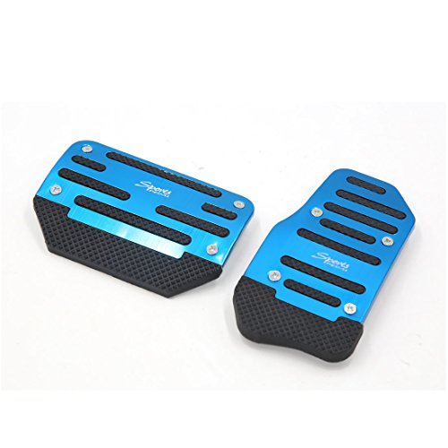 uxcell 2pcs Metal Plastic Blue Non-slip Gas Brake Pedal Cover Pad for Car Vehicle