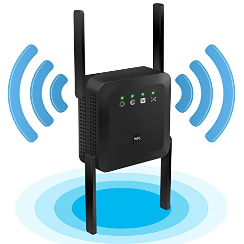 MIQUOO 1200Mbps WiFi Repeater Wireless Signal Booster, 2.4 & 5GHz Dual Band WiFi Extender with Ethernet Port, 4 Antennas 360° Full Coverage, Simple Setup (black)
