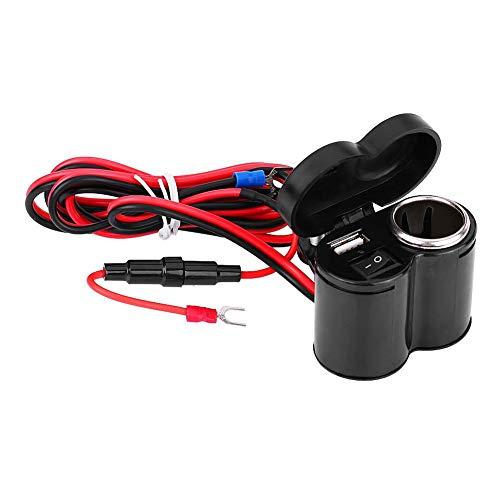 EVGATSAUTO USB encendedor de cigarrillos, 12-45V Teléfono USB Fuente de alimentación Puerto Encendedor de cigarrillos Enchufe para motocicleta Moto Scooter negro