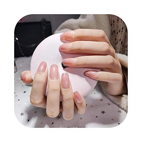 Uñas postizas Clavos rosados simples en las uñas Tapas redondas medianas y completeas Puntas de uñas desmontables para niñas Manicura Acrílico Uñas postizas francesas con pegamento-style3-