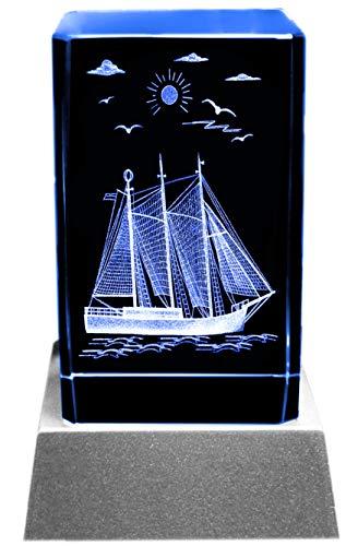 Kaltner Präsente Stimmungslicht LED Kerze/Kristall Glasblock / 3D-Laser-Gravur Maritimes Motiv Schiff Segelschiff