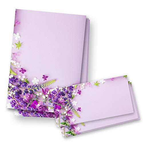 Briefpapier-Set | 25x DIN A4 Briefpapier mit passenden Umschlägen | Geburtstag, Valentinstag, Hochzeit, Weihnachten (Set Lila)