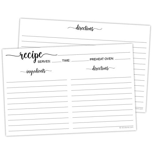 "321Done Recipe Cards (Set of 50) 4"" x 6"" Large White - Black and White Minimalist for Weddings, Bridal Shower - Double-Sided - Made in USA"
