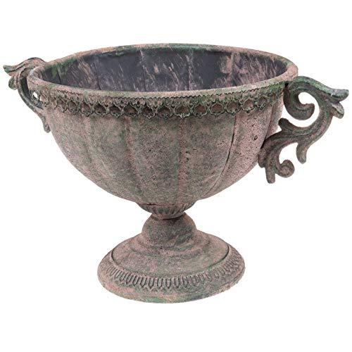 SIDCO Blumentopf Metall Übertopf oval Schale Pokal Deko Vintage Garten Rost Gartenvase