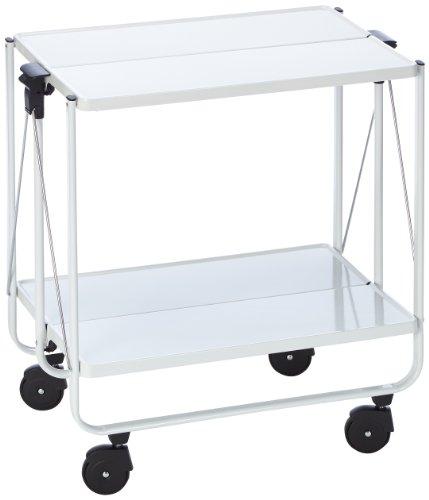 Leifheit Side-Car, im platzsparenden Design, schnell auf- und abbaubarer Küchenwagen mit Rollen, klappbarer Servierwagen mit 2 Ebenen, weiß