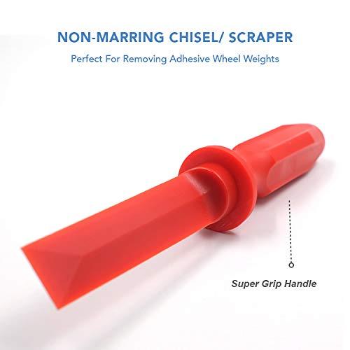 CKAuto Non-Marring Super Grip Plastic Chisel Scraper, Wheel Weight Remover,Red