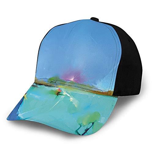 FULIYA Gorra de béisbol para hombre y mujer, abstracto, amanecer, paisajes de la naturaleza, con efectos de pincelada de fantasía, imagen de expresión, clásico, ajustable, sombrero liso