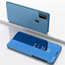 Navnika® Mobile Flip Cover for Samsung Galaxy M31/M21/M30s/F41 Mirror Clear View with Magnetic Stand Protective Cases Diamond Blue