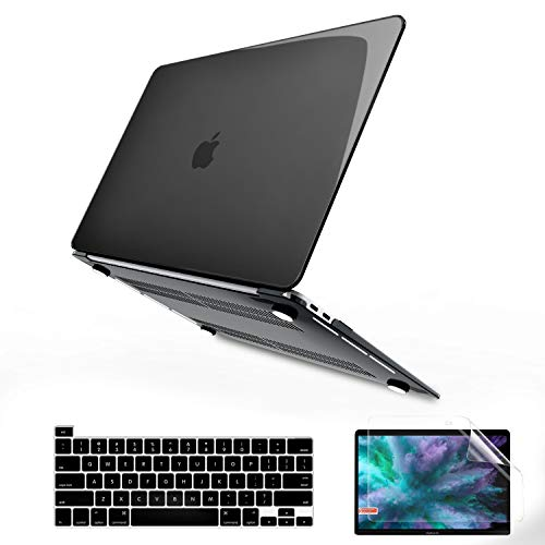 B BELK MacBook Pro 13 inch Case 2020 2019 2018 2017 2016 A2338 M1 A2251 A2289 A2159 A1989 A1706 A1708, Crystal Black Plastic Hard Shell + Keyboard Cover + Screen Skin Compatible with Pro 13 Touch Bar
