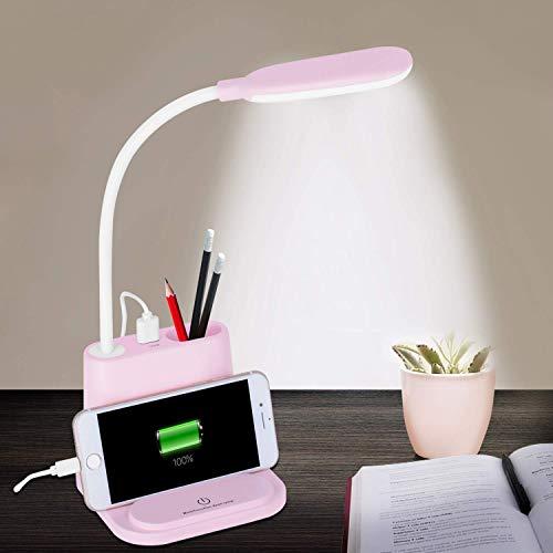 DOOK Schreibtischlampe LED Büro Tischleuchte 2 Farb und stufenloses dimmbar, USB-Anschluss Tischleuchte mit ladefunktion für Aufladung des Smartphones, Tischlampe Augenschutz Touchfeldbedienung,Rosa