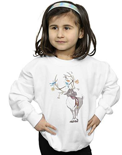 Disney Girls Frozen Sven and Olaf Christmas Ornaments Sweatshirt White 12-13 Years