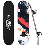 DISUPPO 31 'x 7.8' Pro Skateboard Complet Planche à roulettes, 7 couches A-level Maple Double Kick Concave Standard et Tricks Skateboards pour enfants et adolescents