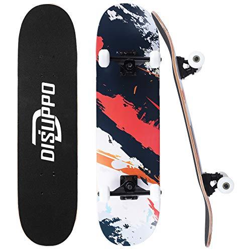 DISUPPO 31 'x 7.8' Pro Skateboard Complet Planche à roulettes, 7 couches A-level Maple Double Kick Concave Standard et Tricks Skateboards pour enfants et adolescents