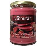 Codandle Candle - Vela aromática (Aroma a Fresa y Mermelada de ruibarbo | Vela aromática de Soja Natural Vegana, 80 Horas de combustión y Fabricante del Reino Unido)