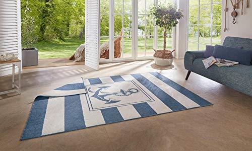 Auswahl Moderner Design Outdoor Teppich Wendeteppich Wetterfest regensicher schmutzabweisend für Innenbereich und Außenbereich für Garten Balkon Terrasse Wohnzimmer 160x230 cm (Maritim-104143)
